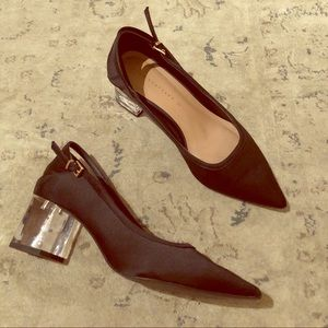 Zara Black Satin Lucite Block Heels